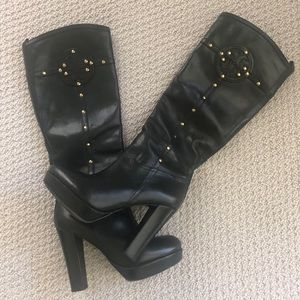 Used Tory Burch Boot with Gold Trim